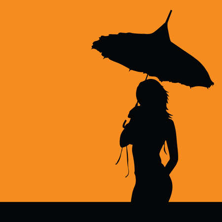 sexes: girl silhouette with umbrella vector illustration Illustration
