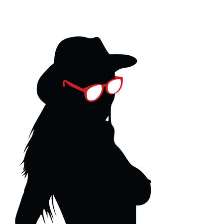 sexes: girl with sunglasses silhouette vector illustration