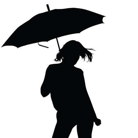 meisje met paraplu vector silhouet illustratie Stock Illustratie