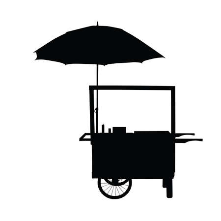 ingestion: hot dog trolley wheel with umbrella silhouette on white
