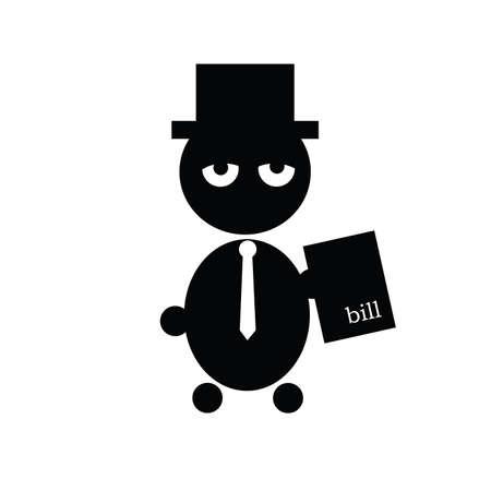 illustrazione uomo: illustrazione uomo e fattura cartacea vettore silhouette