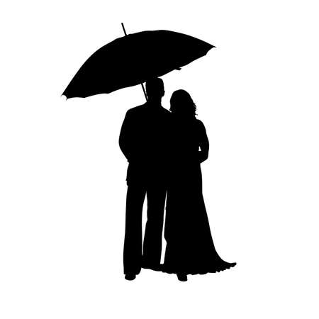 black woman: man and woman with umbrella black silhouette illustration