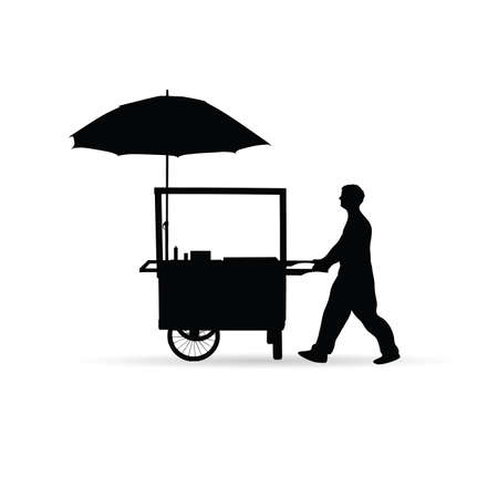 sold small: man sold hot dog vector silhouette illustration