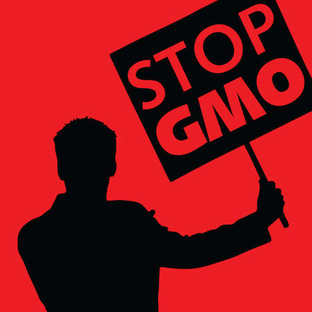 genetically modified crops: man with the slogan stop gmo on red background Illustration