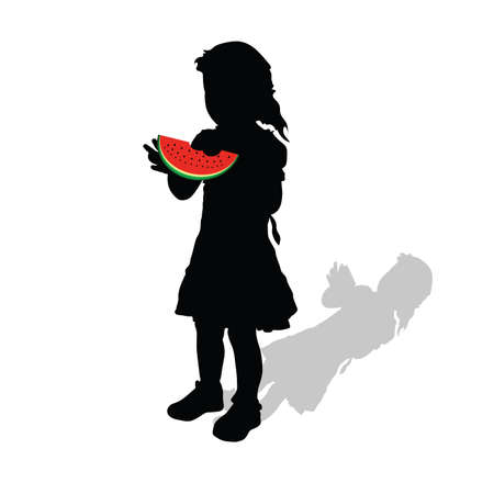 watermelon woman: girl with watermelon vector illustration
