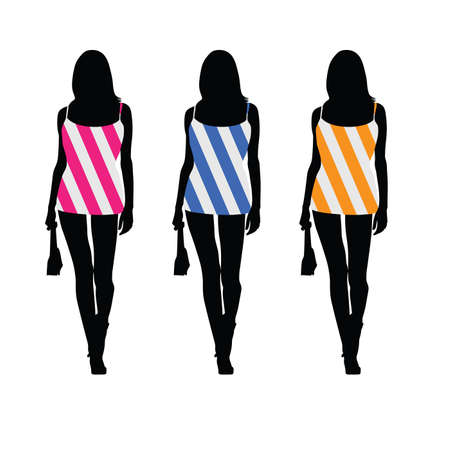 sexes: girls in beauty dress color vector illustration