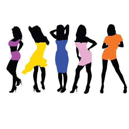 girls in dresses illustration vector black silhouette Vector
