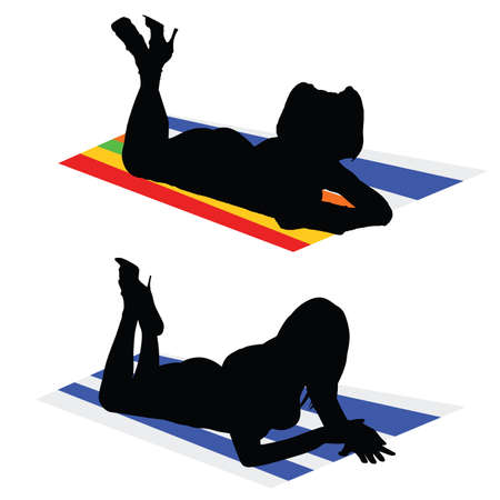 sexes: girls on a towel color vector Illustration