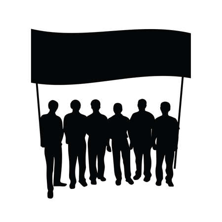 group people: group people with flag silhouette on white
