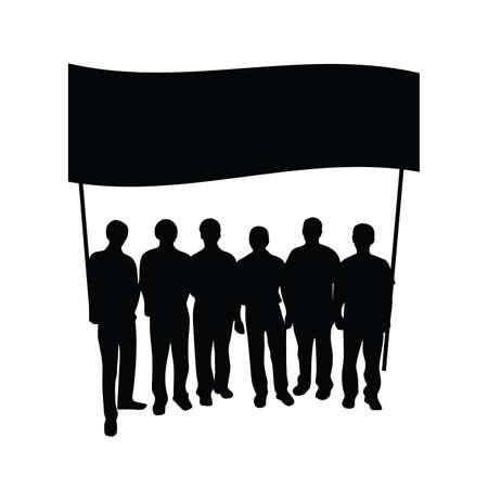 gruppe von menschen: Gruppe Menschen mit Flagge Silhouette auf wei�em