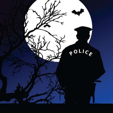 politieagent op het maanlicht vector illustratie op een kleur