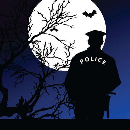 policeman on the moonlight vector illustration on a color