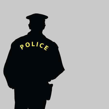cartoon police officer: policeman silhouette vector illustration