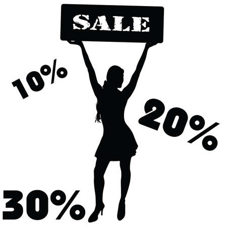 sale sign with girl vector illustration Vector