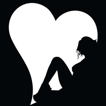 sexy meisje: sexy girl silhouette and heart on black