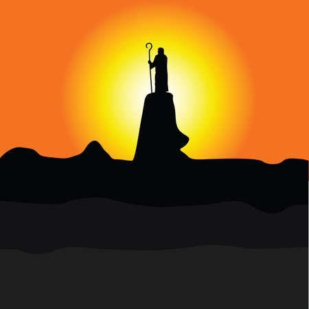 shepherd on the cliff color silhouette illustration