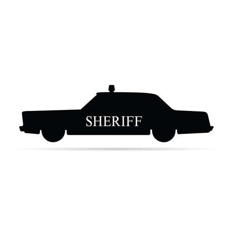 guard duty: sheriff car illustration on white background Illustration