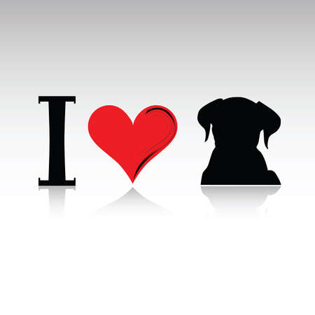head i: sign i love dog illustration with dog silhouette and heart