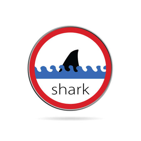 sign of danger from sharks illustration on white Vector