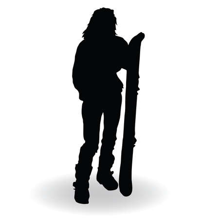 snowboarding woman silhouette with board on white Vector