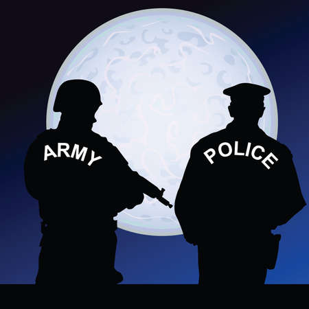 defend: soldier and policeman on a moonlight color illustration