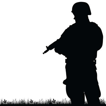 riffle: soldier in the nature illustration