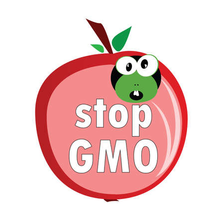 animal abuse: stop gmo with worm color illustration
