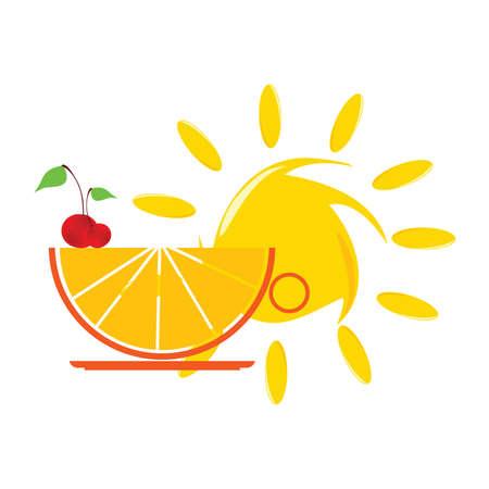 sun and orange and cherry illustartion  Vector