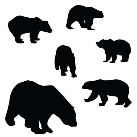kodiak: osos dulces y hermosas siluetas ilustraci�n sobre un fondo blanco Vectores