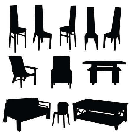 table and chair black illustration on white background Vector