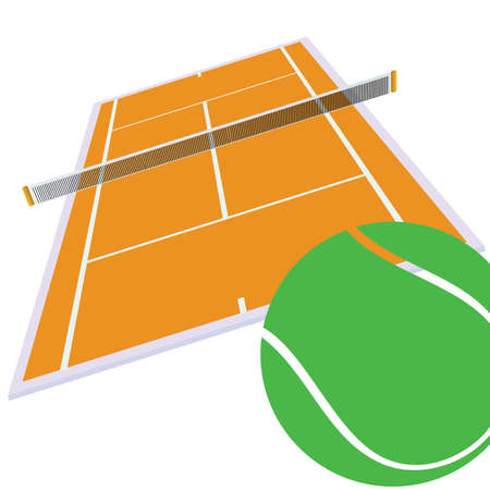 synthetic court: tennis court and green ball illustration on white Illustration