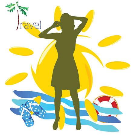 mobil: reizen meisje met mobil telefoon illustratie