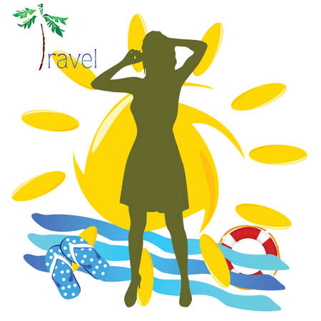 mobil: travel girl with mobil phone illustration