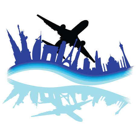 through travel: travel through various cities of the world on white background