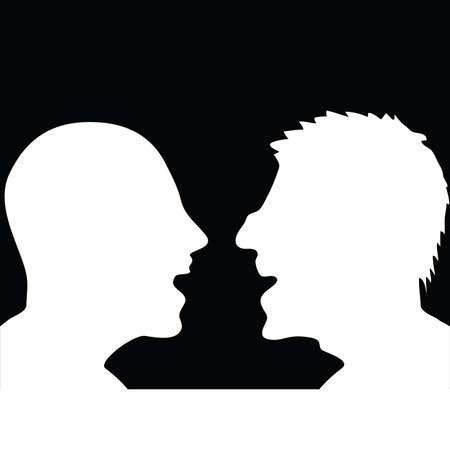 choleric: two people arguing white silhouette illustration Illustration
