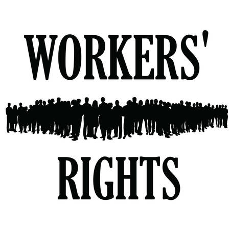 workers rights silhouette illustraton people group Stock Illustratie