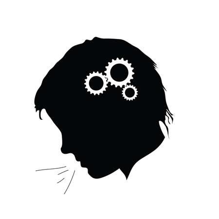 had: working brain illustration of human had