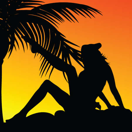 girl and palm on a sunset color vector illustration Vector
