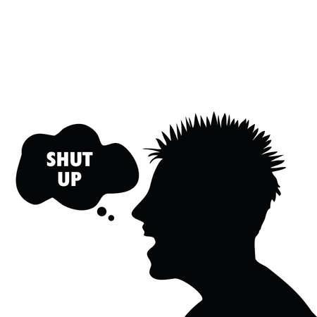 shut up: shut up symbol with man had illustration