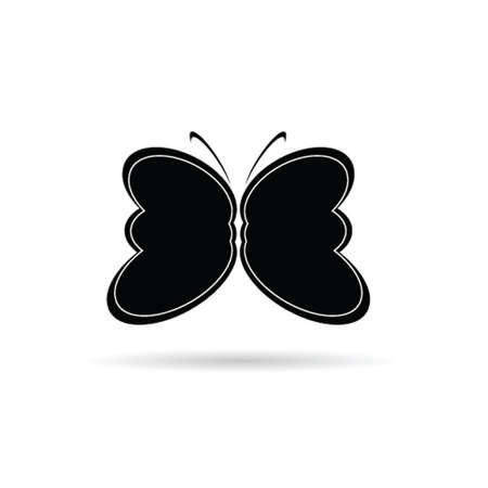 ine: butterfly black and white vector silhouette illustration