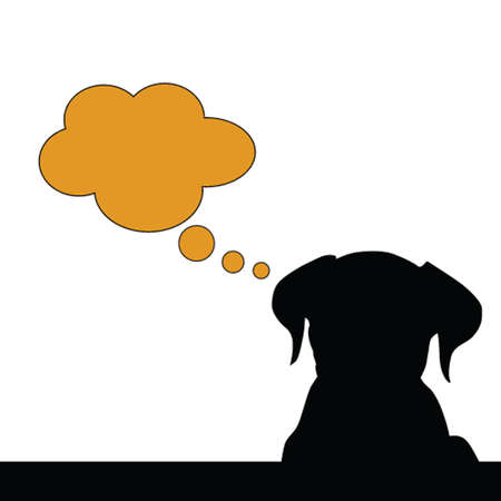 dog think vector silhouette illustration on a white Vector