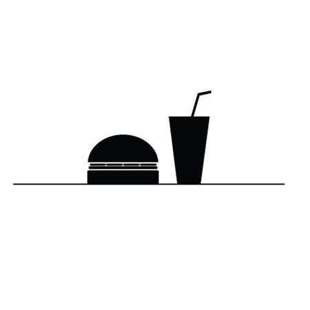hamburger and juice in a glass black and white vector silhouette Vector