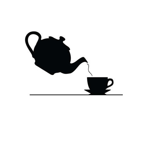 tea icon vector silhouette on white illustration Vector