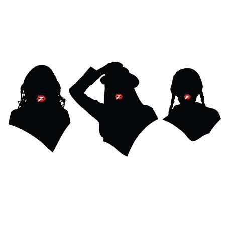 drie meisjes met sigaretten silhouet illustratie Stock Illustratie