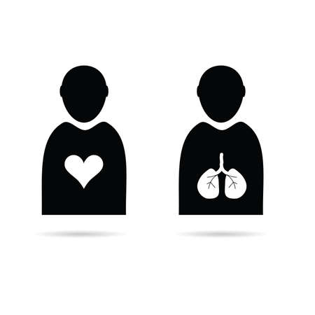 heart and lungs in man icon vector illustration Vector