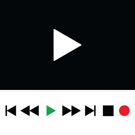 player controls: play icon color illustration on a black
