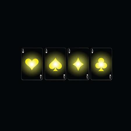 poker sign color vector illustration on a black background