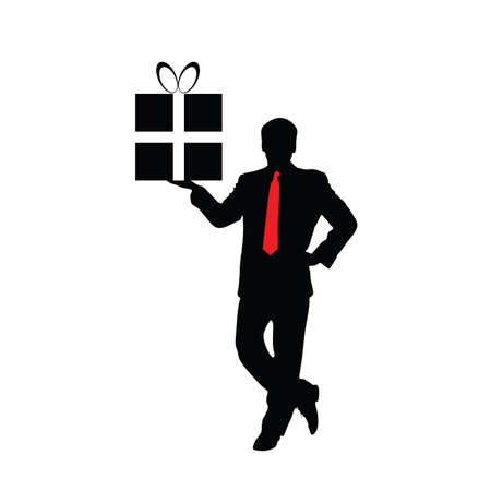 businessman with a gift vector illustration Vector