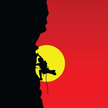 bergsteiger: Bergsteiger Farbe Vektor-Illustration