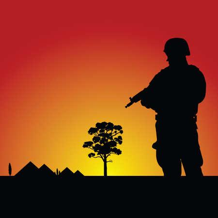 militant: soldier vector silhouette illustration Illustration